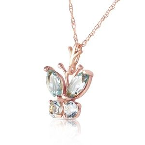 14K. SOLID GOLD BUTTERFLY NECKLACE WITH AQUAMARINE